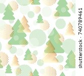 merry christmas luxury seamless ... | Shutterstock .eps vector #740789461