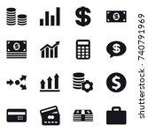 16 vector icon set   coin stack ... | Shutterstock .eps vector #740791969