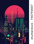 cool retro futuristic synthwave ... | Shutterstock .eps vector #740793007