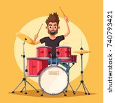 Drummer. Rock Music. Cartoon...