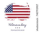 veterans day banner layout... | Shutterstock .eps vector #740793907