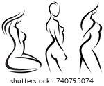 set stylized beautiful women... | Shutterstock .eps vector #740795074