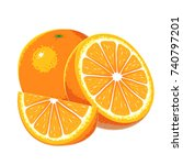 orange fruit vector.  | Shutterstock .eps vector #740797201