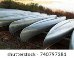 metal canoes resting on a boat... | Shutterstock . vector #740797381