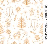 winter seamless pattern with... | Shutterstock .eps vector #740804104