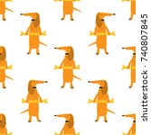 seamless pattern with cute... | Shutterstock .eps vector #740807845