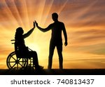 silhouette disabled woman in a... | Shutterstock . vector #740813437