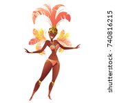 brazilian samba dancers. vector ... | Shutterstock .eps vector #740816215