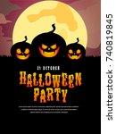 halloween poster with pumpkin... | Shutterstock .eps vector #740819845