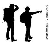 realistic vector silhouettes of ... | Shutterstock .eps vector #740819971