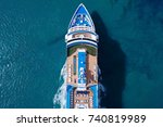 large cruise ship sailing... | Shutterstock . vector #740819989