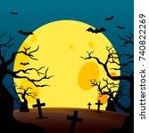 halloween poster design with... | Shutterstock .eps vector #740822269