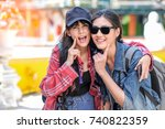 close up of excited cheerful... | Shutterstock . vector #740822359