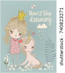 cute unicorn with princess | Shutterstock .eps vector #740823271