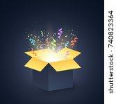 open dark gift box. confetti... | Shutterstock .eps vector #740823364