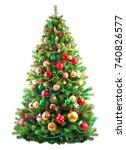 beautiful christmas tree... | Shutterstock . vector #740826577