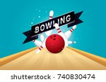 vector of red bowling ball... | Shutterstock .eps vector #740830474
