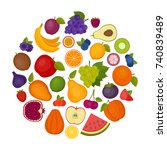 fruits background. organic and... | Shutterstock .eps vector #740839489