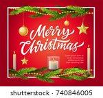 merry christmas   modern vector ... | Shutterstock .eps vector #740846005