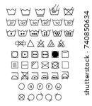 doodle laundry symbols. hand... | Shutterstock .eps vector #740850634