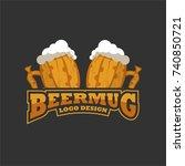 beer in mug or glass logo... | Shutterstock .eps vector #740850721