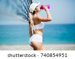 refreshing after workout.... | Shutterstock . vector #740854951