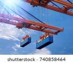 industrial port crane lift up...   Shutterstock . vector #740858464