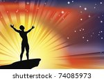 A joyous man with arms stretched  up to a glorious sky. - stock vector