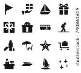 16 vector icon set   flag  gift ... | Shutterstock .eps vector #740861659