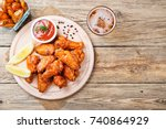 hot and spicy buffalo chicken... | Shutterstock . vector #740864929