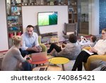 group of a young business... | Shutterstock . vector #740865421