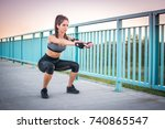 young athletic woman doing... | Shutterstock . vector #740865547