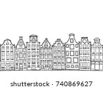cartoon hand drawn ink houses.... | Shutterstock .eps vector #740869627