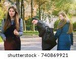 disloyal man walking with his... | Shutterstock . vector #740869921