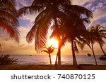 isla mujeres island caribbean... | Shutterstock . vector #740870125