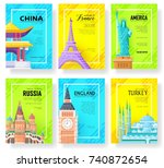 travel information cards set.... | Shutterstock .eps vector #740872654