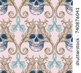 beautiful bohemian damask... | Shutterstock .eps vector #740876041