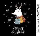 christmas card with animals.... | Shutterstock .eps vector #740877481