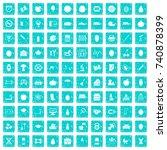 100 apple icons set in grunge... | Shutterstock .eps vector #740878399