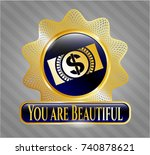 gold emblem or badge with... | Shutterstock .eps vector #740878621