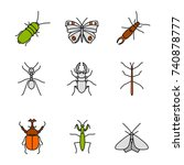 insects color icons set.... | Shutterstock .eps vector #740878777