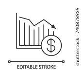 dollar falling linear icon.... | Shutterstock .eps vector #740878939