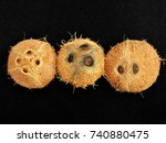 close up of dehusked coconuts... | Shutterstock . vector #740880475