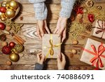 christmas background. the child ... | Shutterstock . vector #740886091