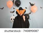 woman masquerade bat mask... | Shutterstock . vector #740890087