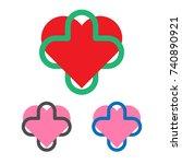 medical logo template. heart... | Shutterstock .eps vector #740890921