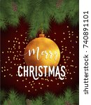 merry christmas card | Shutterstock .eps vector #740891101