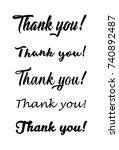 thank you calligraphy.... | Shutterstock .eps vector #740892487
