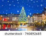 christmas tree and xmas market...   Shutterstock . vector #740892685