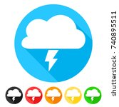 storm cloud icon round flat... | Shutterstock .eps vector #740895511